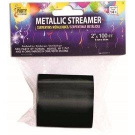 SKD Party by Forum Metallic Streamer, Black - 2 inch x 100 feet