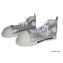 Funny Fashion Clown Shoes Silver Glitter - Adult