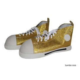 Funny Fashion Clown Shoes Gold Glitter - Adult