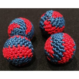 Ronjo Crocheted Balls Acrylic 4 pk, 3/4 inch - Swirl Red/Blue(M8)