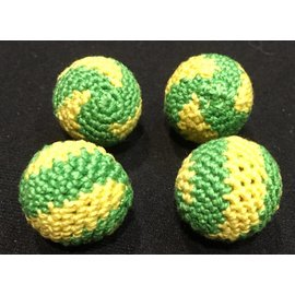 Ronjo Crocheted Balls Acrylic 4 pk, 3/4 inch - Swirl Yellow/Green