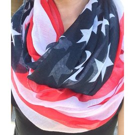Kimberly C. American Flag Sheer Scarf 3' x 6'