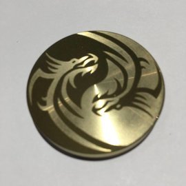 Ronjo Ying Yang Dragons Okito Box Spinner Lid, Half Dollar - Laser Etched by Ronjo