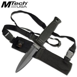 Mtech USA MTech Fixed Blade Knife Black Finish Dagger With Shoulder Strap Sheath (M1)