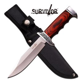 Knife Survival Brown Wood Handle Straight FIXED Blade Hunting Bowie Knife (M1)