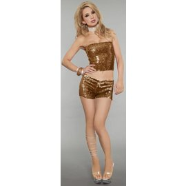 Western Fashion Inc Stretchy Sequin Shorts - Gold, One Size
