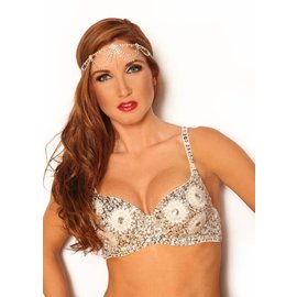 Western Fashion Inc Sequin Beaded Bra Top , Gold - M/L