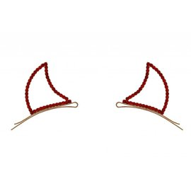 Crystal Avenue Devil Horns Bobby Pins, Rhinestone - Red