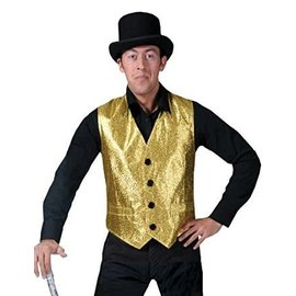 Funny Fashion Show Biz Vest Gold- Medium