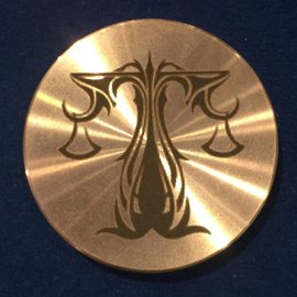Ronjo Libra Okito Box Spinner Lid, Half Dollar -  Laser Etched by Ronjo - Coin
