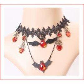 Hand Made Jewlery Victorian Lace Choker w/Bat Charms