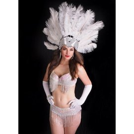 Western Fashion Inc Samba Bra Sequin/Beaded/Fringe, White- M/L