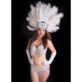 Western Fashion Inc Samba Bra Sequin/Beaded/Fringe, White- M/L