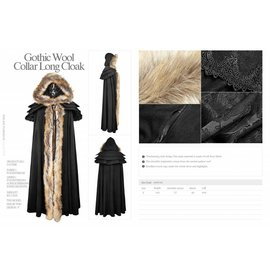 Punk Rave Gothic Wool Collar Long Cloak - Black