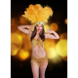 Western Fashion Inc Samba Bra Sequin/Beaded/Fringe, Gold Large - L/XL