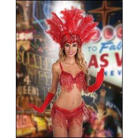 Western Fashion Inc Samba Sequin Beaded Belt, Red - M/L
