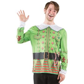 Elf Long Sleeve T-Shirt, Photo Realisitc - Adult XXL by Faux Real