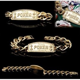 Trademark Poker Bracelet, Poker Champion - Gold Cuban Link