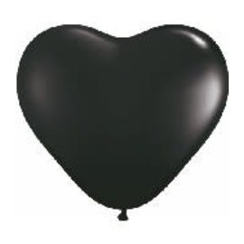 Qualatex 6 inch Heart Balloons Onyx Black - 100 Count