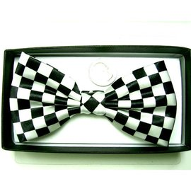 China Bow Tie Checker, White/Black - Boxed