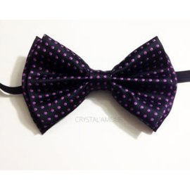 China Bow Tie, Black w/Purple Dots - Boxed