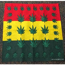 China Bandana Rasta Colors with Green Leaf