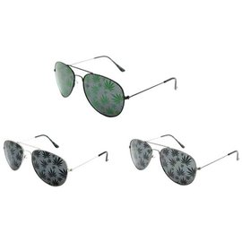 China Aviator Sunglasses with Pot Leaves - Assorted Colors