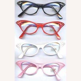 China Sunglasses Cat Eye - Black, Clear Lens w/Rhinestone