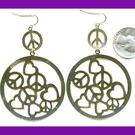 Fashion Jewelery Earrings, Peace and Hearts In Circle