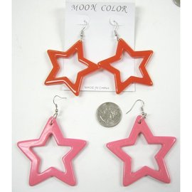 Moon Color Earrings, Star Shape Plastic, Assorted Colors  - by Moon Color