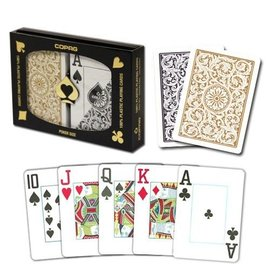 Copag Copag 1546 Black and Gold Poker Size Jumbo Index Double Deck  (M5)