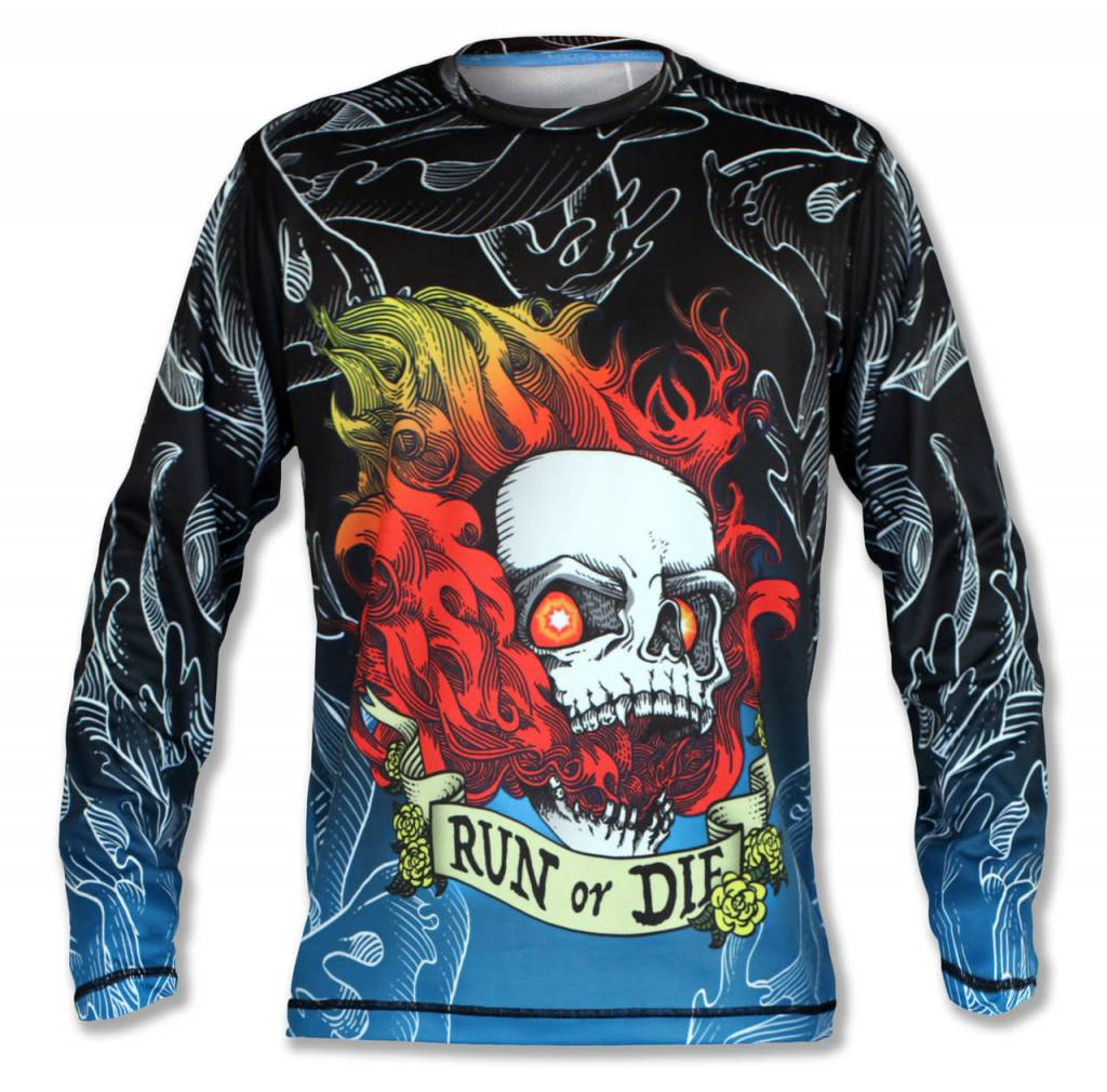 InknBurn INKnBURN LS Tech Shirt (M) - Run Or Die Fire Skull