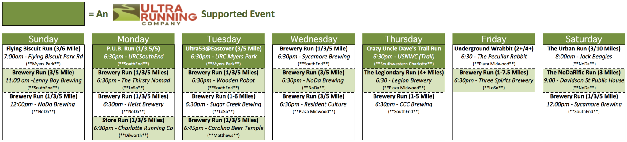 CLT Weekly Run Schedule