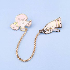 Little Arrow Pink Toy Poodle Pin Set