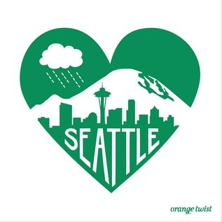 Orange Twist Seattle Emerald Heart Print