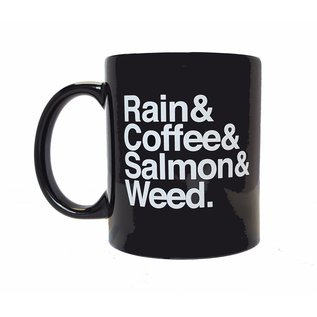Annie's Art & Press Rain & Coffee & Salmon & Weed Mug