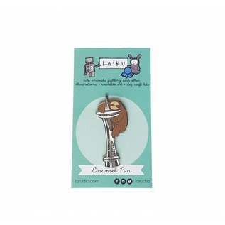 La Ru Sloth & Space Needle Enamel Pin