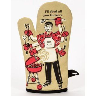 Blue Q Oven Mitt - Feed You Fuckers