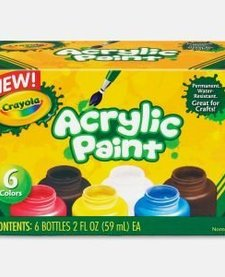 CRAYOLA - 6 CT. 2 OZ. ACRYLIC PAINT - NONWASHABLE