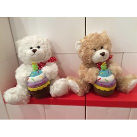 "GANZ GANZ - 8"" BIRTHDAY CUPCAKE BEAR PLUSH (WHITE, BROWN)"