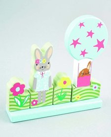 FLOSS AND ROCK:  MAGNETIC WOODEN BUNNY PUZZLE