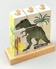 FLOSS AND ROCK:  DINOSAUR WOODEN CUBE PUZZLE