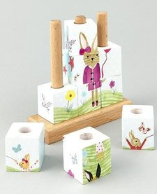 FLOSS AND ROCK:  BUNNY WOODEN CUBE PUZZLE