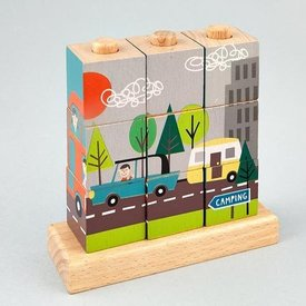 FLOSS AND ROCK FLOSS AND ROCK:  TRANSPORT WOODEN CUBE PUZZLE