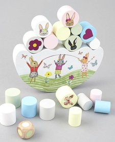 FLOSS AND ROCK:  WOODEN BALANCING GAME - BUNNY