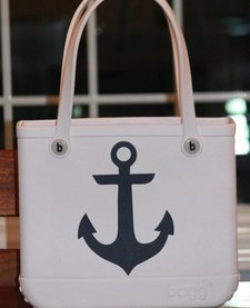 BABY BOGG TOTE: WHITE WITH ANCHORS