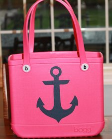 BABY BOGG TOTE: PINK WITH ANCHORS