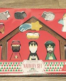 CUPCAKES AND CARTWHEELS: Hand Painted Nativity Keepsake Set in Gift Box Incl 12 Pcs
