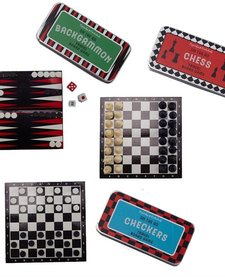 CUPCAKES AND CARTWHEELS:  ON THE GO TRAVEL BOARD GAMES (ASST BACKGAMMON, CHESS, CHECKERS)