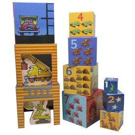 GOOD NIGHT CONSTRUCTION SITE Stacking Nesting Blocks w/ 2 wood vehicles